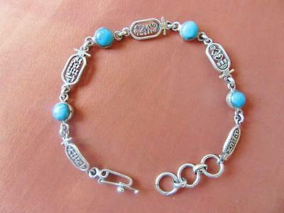 Amazing Vintage Egyptian Sterling Silver Bracelet of Ancient Goddesses Cartouche
