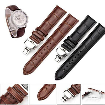 Leather Stainless Steel Butterfly Clasp Buckle Watch Band Strap 18/20/22mm