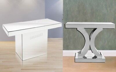FoxHunter Mirrored Furniture Glass Table Console Desk Bedroom Home Hall Silver