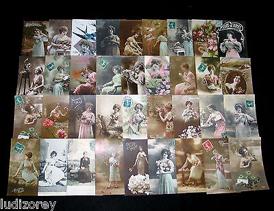 Lot B37 : 36 Cpa Femme Charme Miss Pin-Up Lady Mode Elegance French Beauty 1900