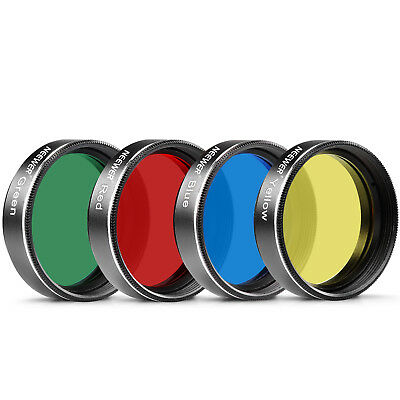"""Neewer 1.25"""" Four Color Red Yellow Grreen Blue Filter Set for Telescope Eyepiece"""