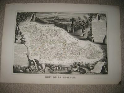 Antique 1856 Moselle Metz France Levasseur Masterpiece Handcolored Map Superb N