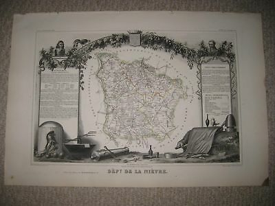 Antique 1856 Nievre Nevers France Levasseur Masterpiece Handcolored Map Superb N