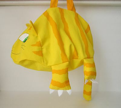Children's - Boys or Girls' BAGGY ANIMAL TOTE BAG:  Whimsical Yellow Kitty Cat