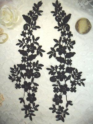 DH90 Embroidered Lace Appliques Navy Blue Floral Venice Lace Mirror Pair 10.5/""