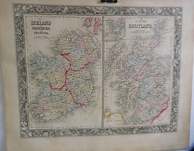 County Map Of Scotland, Ireland In Provinces & Counties, Mitchell's Atlas, 1861