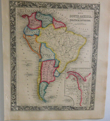 Early Map Of South America Showing It's Political Division,Mitchell's Atlas,1861