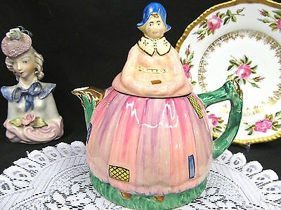 Arthur Woods Lady Teapot Super Pink Painted Lady With Dress Pot England