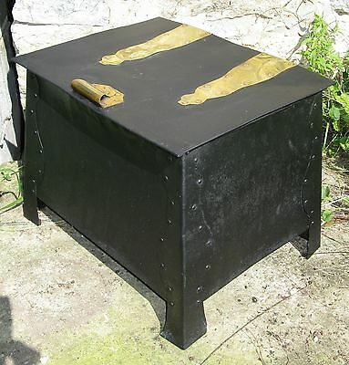 Vintage Arts & Craft Mission Style Metal Brass Fireplace Kindling Ash Coal Box