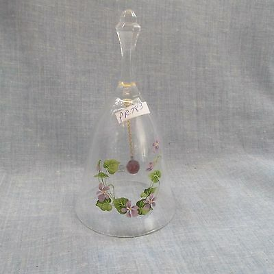 Vintage Avon Lead Crystal Birthday Bell With Purple Morning Glory`s     #783