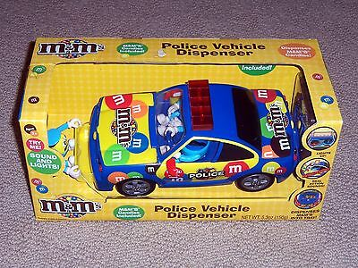 NIB M&M Candy Police Vehicle Dispenser with Flashing Lights and Siren