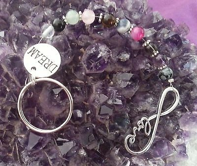 HANDCRAFTED KEY CHAIN WITH 6mm GEMSTONE BEADS PLUS LOVE & DREAM CHARMS