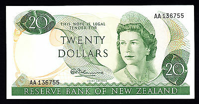 New Zealand  $20  20 Dollars ND 1967 1st Prefix AA Fleming P. 167a gEF Note RARE