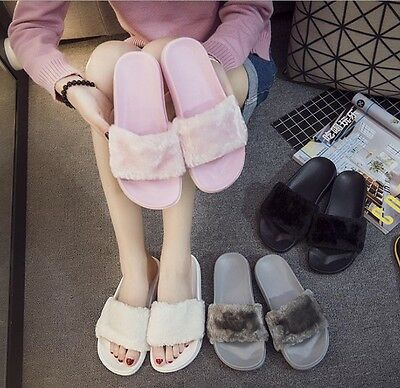 Fashion Womens Slipper Slip On Sliders Fluffy Fur Slippers Flip Flop Sandals