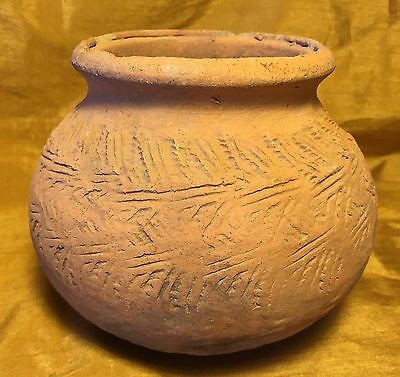 "Ancient 4.5"" Chinese Asian Terracotta Pottery Pot Jar w Round Bottom: Shipwreck?"