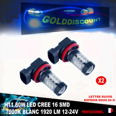 h 11 led cree blanc froid 7000k 16 smd 80w 12-24v