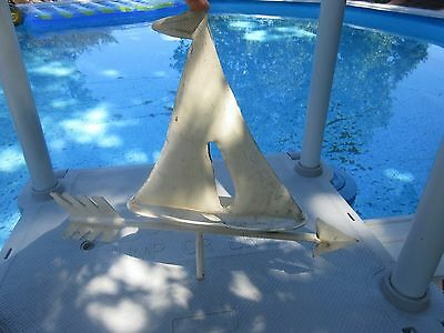 Vintage SAILBOAT METAL  Weathervane TOP very nice PAINTED WHITE