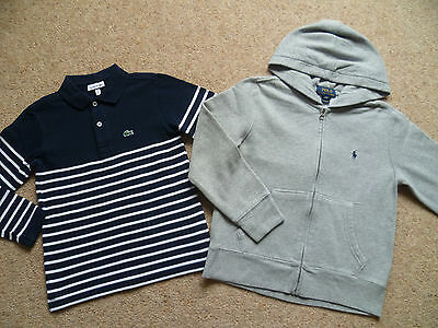 Boys Genuine Designer LACOSTE Polo Shirt & RALPH LAUREN Hoodie 8 Yrs New Labels