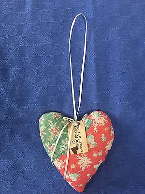 Sweet Vintage Quilt OOAK Heart Pillow Door/Peg Hanger,Christmas/Spring/Red,Green