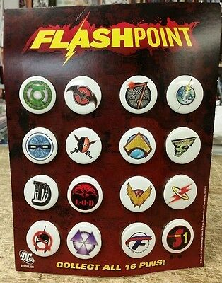 16 x Collectible Flashpoint Badges on Presentation Card Display (2011) DC Comics