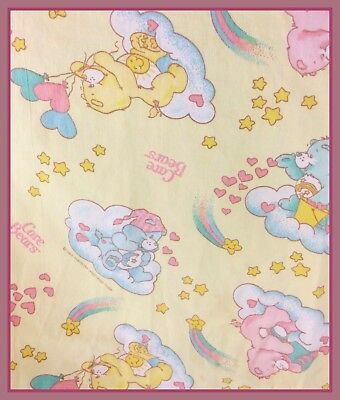 "Vintage 1983 Care Bears Fitted Crib Sheet 26""x48"" by American Greetings Corp."