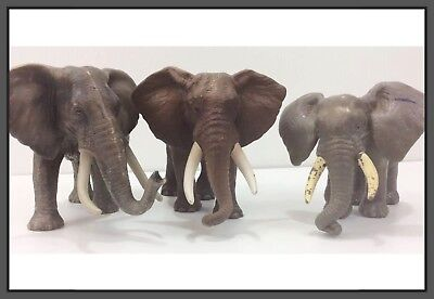 3 Schleich African Asian Gray Elephants Heavy Plastic Figures Germany
