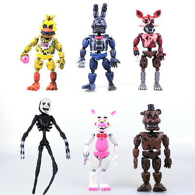"2017 6 Pcs 6"" FNAF Five Nights at Freddy's Action Figures with Light Toy Gift UK"