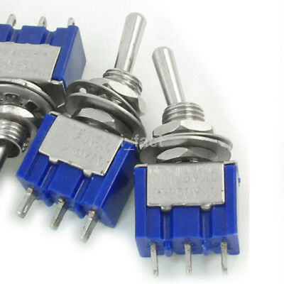 5Pcs 2A 250V AC ON/OFF SPDT 2 Position Latching Toggle Switch Mini Blue US