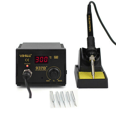 YiHua 937D+ 60W ESD Soldering Station Solder Iron W/ Extra 5 Tips Stand Kit 230V