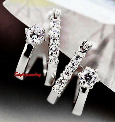 Women Fashion White Gold Filled Huggies Earring Made With Swarovski Crystal IE72