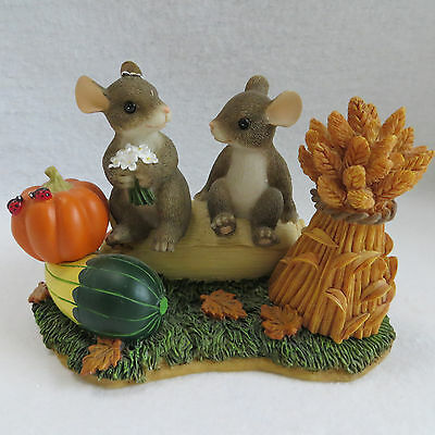 Charming Tails Harvest Time Honeys 85882 Mice Fitz Floyd Autumn Fall in Box