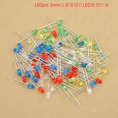100pcs/Lot Red Blue Yellow 3MM 2 Pins Round Bright LED Light Emitting Diode Lamp