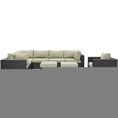 Modway Convene 9 Pc Outdoor Sectional Set, Espresso Beige - EEI-2208-EXP-BEI-SET