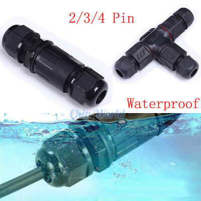 Waterproof IP68 Cable Connector 2/3/4 Pin Plug and Stocks Junction Box AC 220V