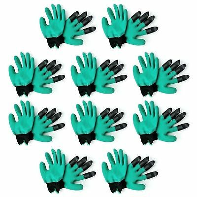 10 x Rubber Digging Glove Built In Plastic Claws Waterproof Gardening Planting