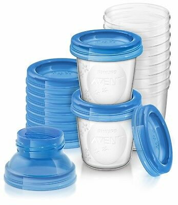 Brand New Philips SCF618/10 Avent Reusable Breast Milk Storage Cups - Pack of 10