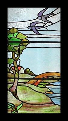 Special And Rare Art Deco River Scene English Stained Glass Window