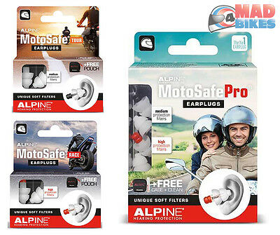 Alpine Motosafe Tour, Race, Pro Motorcycle Motorbike EarPlugs New 2017 Ear Plugs