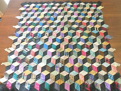 Victorian silk tumbling blocks patchwork sample - 52cms x 52cms - unbacked