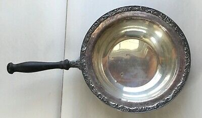 "Wm Rogers  SILVERPLATE BOWL + WOOD HANDLE  -  FGC  ""575""  floral scroll 10 5/8in"