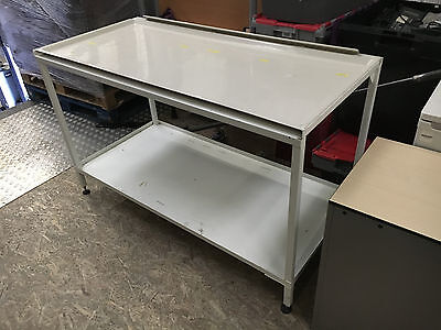 Lab work bench, smooth removable fibre glass top for easy clean.