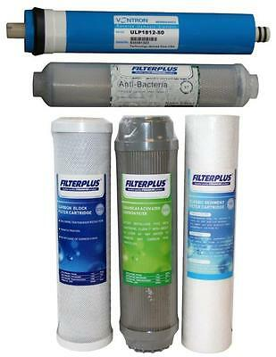"""50GPD Replacement Filter Kit - 10"""" Sediment Carbon and Reverse Osmosis Membrane"""