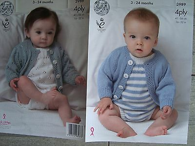 f18b2cc1ccce70 KING COLE 3989 Baby s Romper Suit   Cardigan 4 Ply Knitting Pattern ...