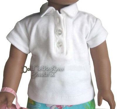 """White Polo T-Shirt Fits American Boy or Girl 18/"""" Doll Clothes"""