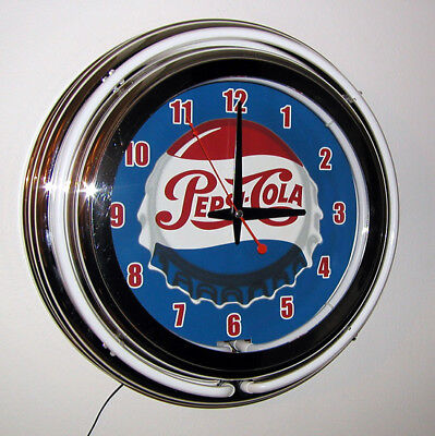 Pepsi Pepsi-Cola Sign Bottle Cap  2 Ring Neon Clock