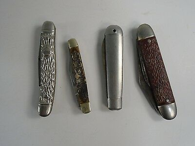 Lot of 4 Various Vintage Old Folding Pocket Knives stainless steel double AUC 2