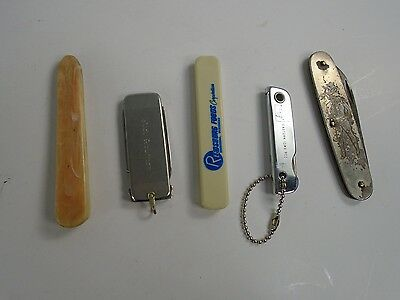 Lot of 5 Various Vintage Old Folding Pocket Knives stainless steel double AUC 5
