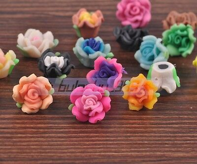 50pcs 15mm Mixed Color Polymer Fimo Clay Rose Flower Charms Loose Findings Beads