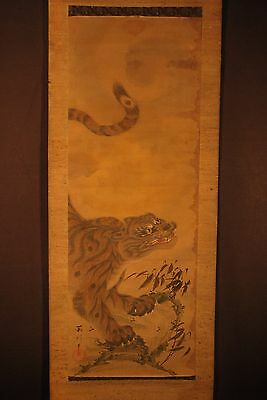 ANTIQUE JAPANESE HAND PAINTED on SILK EDO ERA TIGER SCROLL / Over 150 Years Old