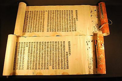 2 ANTIQUE 1750 JAPANESE BUDDHIST JODO SHU SUTRA SCROLLS / 30 Feet Long Each